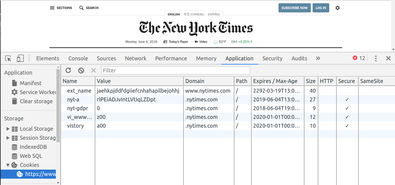 nytimes cookies