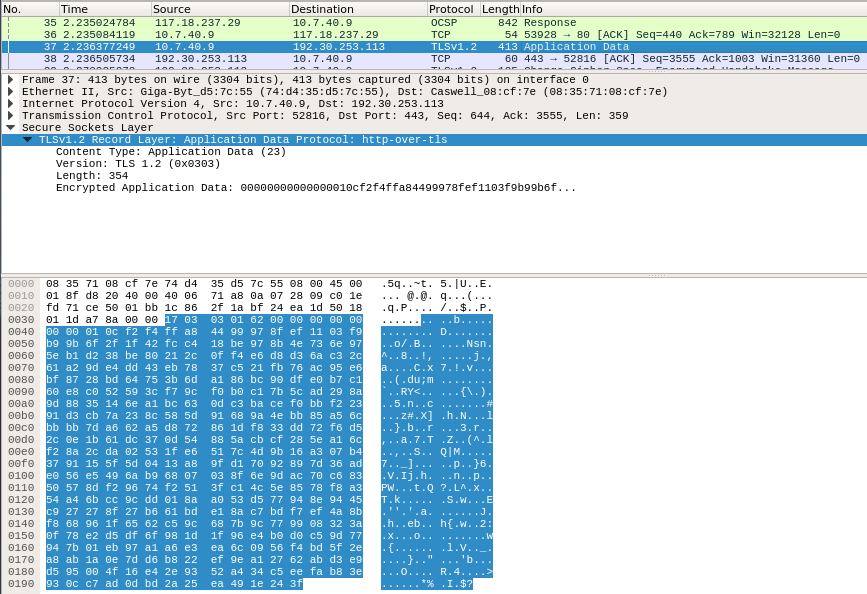 ssl tls encrypted application data wireshark