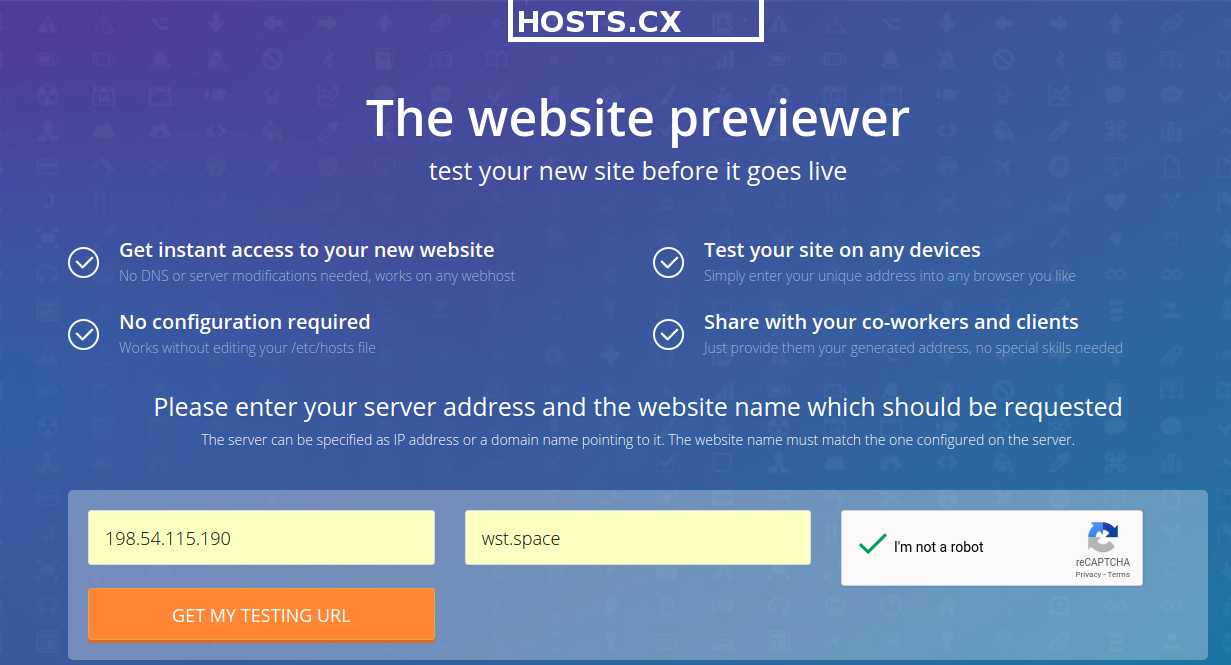 hosts cx temporary dns pointer