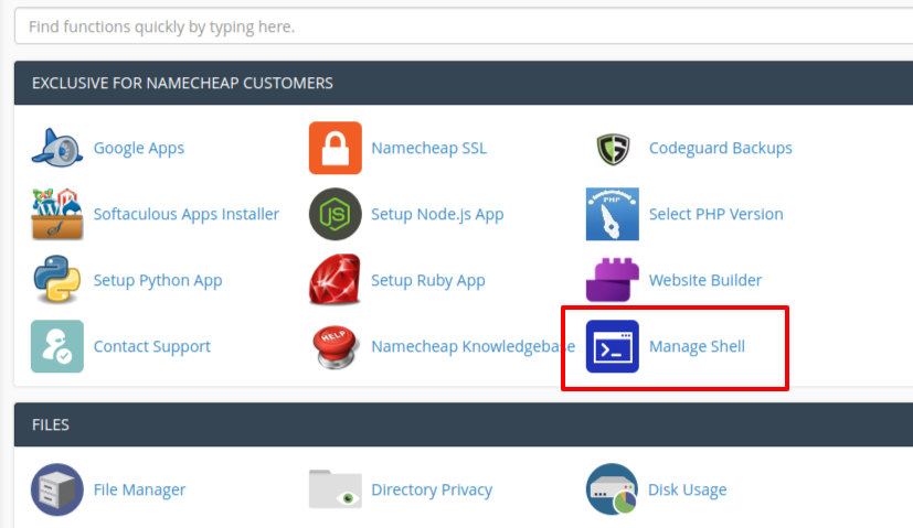 cPanel Enable ssh