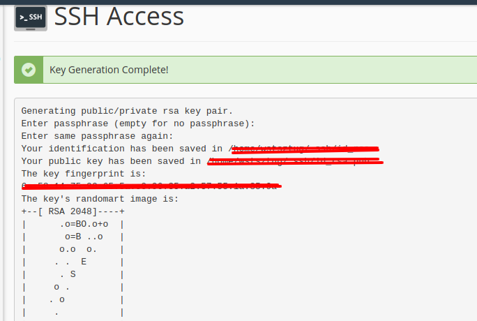 cPanel SSH Access confirmed